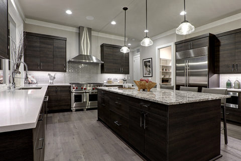 dark wooden shelves and marble designed kitchen remodeling