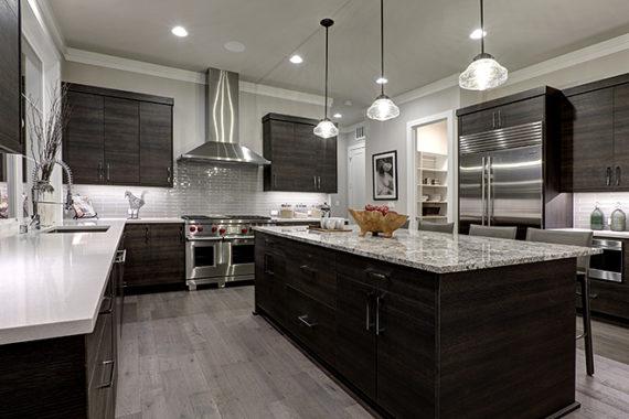 dark wooden shelves and marble designed kitchen remodeling