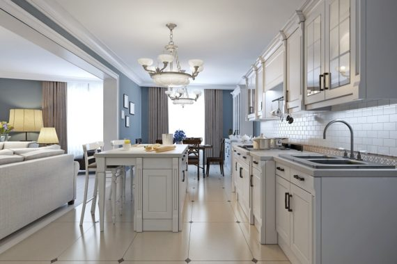 simple and elegant pale white kitchen remodeling design